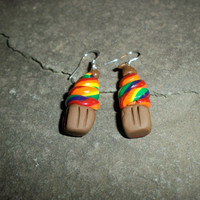 Rainbow Cupcakes with a Chocolate Kiss on Top and Sterling Silver Ear Wires
