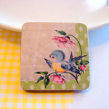 Little Blue Bird on a Pink Flowered Branch Pin - Medium Paper and Wood Decoupage Brooch - Vintage Storybook Bluebird