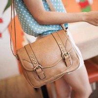 YESSTYLE: Nillie Shop- Faux Leather Crossbody Bag (Camel - One Size) - Free International Shipping on orders over $150