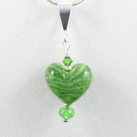 Green Heart Pendant kiwi lampwork glass bead with Sterling Silver and Swarovski Crystals