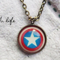 SALE----The Avengers America captain shield pendant Necklace- brass-Color epoxy style
