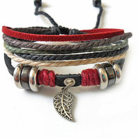 Jewelry bangle leather bracelet men bracelet  women bracelet ropes bracelet buckle bracelet with ropes metal fan and leather SH-1294