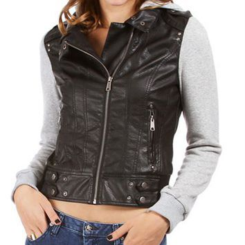 Pre-Order: Black/Gray Faux Leather Light Jacket