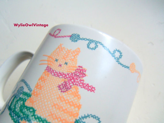 Vintage Cross Stitched Cat Friendship Ceramic Coffee Mug