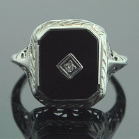 Antique Onyx Ring - White Gold, Onyx, and Diamond Ring