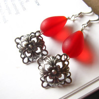 Red seaglass earrings with Antiqued Silver plated diamond shape Connectors