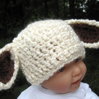 Baby Lamb Hat Beanie Cap Photo Prop Crochet Ivory by Monarchdancer