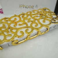 Iphone 4 Case - New Gold Electroplating Hollow Pattern Protect PC Bling Hard Case Back Cover for iPhone 4G 4S
