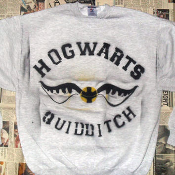 SALE Grey Hogwarts Quidditch Crewneck Sweater (Sizes: S / M / L)