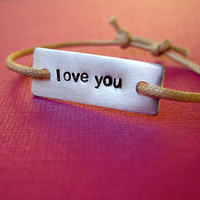 Personalized Word Bracelet -Stamped Aluminum slide knot bracelet on cotton cord