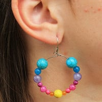 Jade, Howlite and Turquoise Gemstone Hoop Earrings