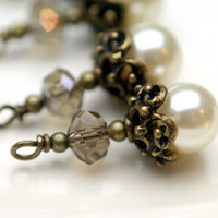 Vintage Style Ornate Pearl and Crystal Bead Dangle Charm Drop Set