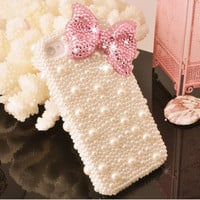 Rhinestone pink bow iphone 4 case iphone 4s protective cover