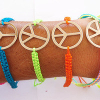 2 x Neon Peace Bracelets Friendship Bracelets 7 Colors  Macrame Bracelet - Yoga Meditation Karma Love