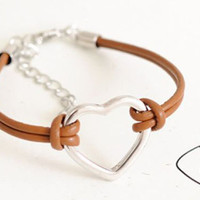Tibetan Silver Heart Bracelet with Brown Corded Bracelet Wish Bracelet Friendship Open Heart Love Forever