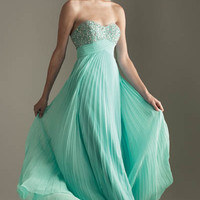 2012 Prom Dresses! Night Moves Heavenly Aqua Pleated Empire Waist Dress- Size 0-18 - Unique Vintage - Homecoming Dresses, Pinup & Prom Dresses.