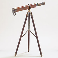 Telescope with Wood and Brass Tripod