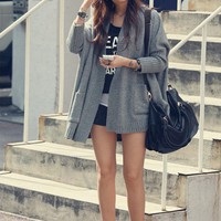 Grey Free Size Women/Girl Loose Bat-wing Sleeves Cardigan/Sweater/Coat@T629g