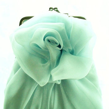 Icy Light Blue Chiffon Rose Purse - Size Small - MADE TO ORDER