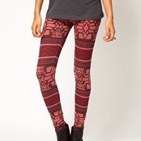 River Island Red Aztec Print Legging at asos.com