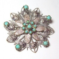 Vintage Southwestern Style Turquoise Brooch