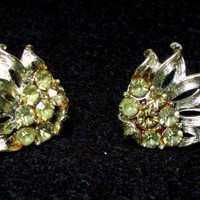 Vintage Coro Silvertone and Olive Rhinestone Earrings