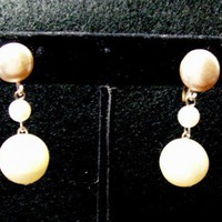 Vintage Japan 3 Pearl Drop Earrings