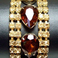 Vintage Brown and Amber Rhinestone Bracelet