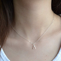 Petite Wishbone Necklace,  925 Sterling Silver Chain, Modern, Simple, Delicate, Everyday Wear Jewelry