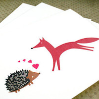 Love note cards, hedgehog and the fox, blank for own personal message. (set of 6)