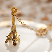 Eiffel Tower Lariat Necklace Gold Circle Paris Eiffel Tower Necklace - N042
