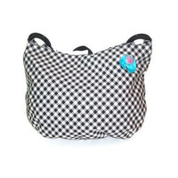 Medium Sized Black and White Checkered Purse Womens Handbag