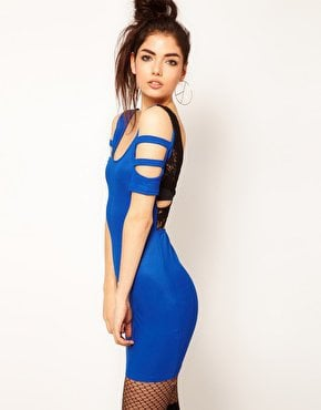 Reverse Lace Back Strappy Mini Dress at asos.com
