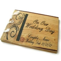 "Wooden Personalized Guest Book - Wedding Rustic Book 10""x12"""