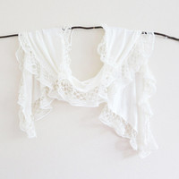 Ivory Bridal Lace Scarf White Ruffle Beach Wedding