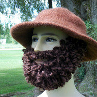 Bearded Mustache Hat Hillbilly Chocolate Brown Hat Brown Hat Halloween Costume