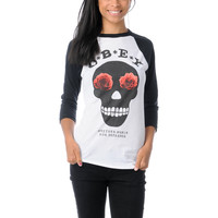 Obey Girls Sinner White & Black Baseball Tee Shirt  at Zumiez : PDP