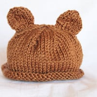Bear Ears - Infant Hat - Brown - Ready to Ship