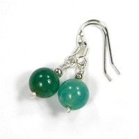 Aqua Fired Agate Gemstone Bead Sterling Silver Earrings