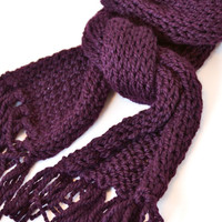 Eggplant Knit Scarf - Ready to Ship - Dark purple, plum, chunky, hand knit scarf.