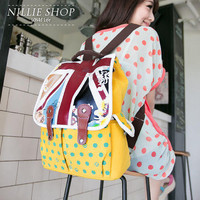 YESSTYLE: Nillie Shop- Flag Print-Panel Dotted Backpack (Yellow - One Size) - Free International Shipping on orders over $150