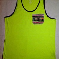 Tuanis — Summer Collection Tank Top - Neon Yellow w/ flowers