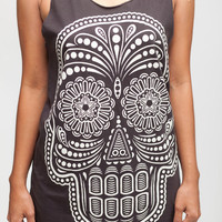 Skull Shirt Day of the Dead Shirt Gothic Sugar Skull Top Women Tank Top Black Shirt Tunic Top Vest Sleeveless Women T-Shirt Size S M