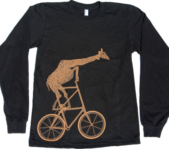 Giraffe on a Two High Bike Tshirt Print - American Apparel Long Sleeve Shirt  - free shipping - Available in xs, s, m, l, xl and xxl