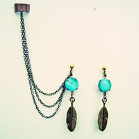 blue moonstone and golden feathers ear earrings and ear cuff