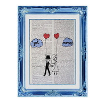 Wedding Doodle Vintage French Dictionary Page Original Art Just Married Personalize Available