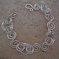 Crystal ring and sterling silver spiral link hand forged bracelet