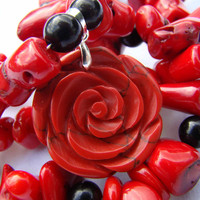 rose red necklace - black jasper, red jasper, red coral - handmade gemstone jewelry - OOAK