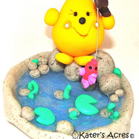 GONE FISHING Parker - Polymer Clay Storybook Pond Scene