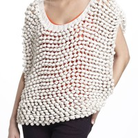 Sleeveless Pompom Sweater